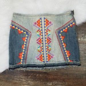 Free People Denim Mini Jean Skirt Aztec Embroidery